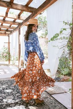 Boho Maxi Ruffle Skirt Quot Gypsy Dancer Quot Maple Brown With