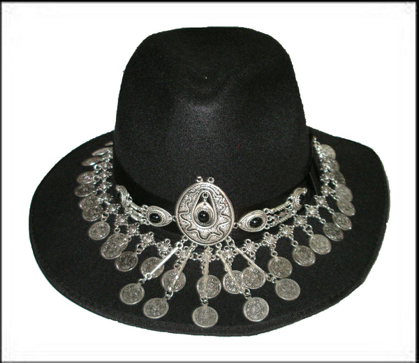 Gypsy Hat Black Boho Fedora With Gipsy Coin Jewelry Decoration Handmade One Size