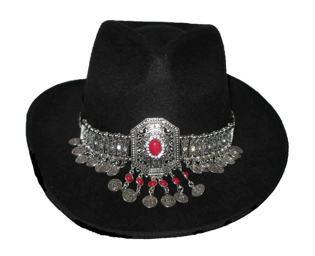 Copy of Gypsy Hat Black Boho Fedora With Gipsy Coin Jewelry Decoration Handmade One Size