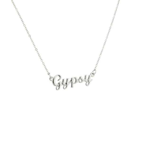 Gypsy Name Necklace ID Silver Tone Boho Name Tag Bohemian Gipsy Identification