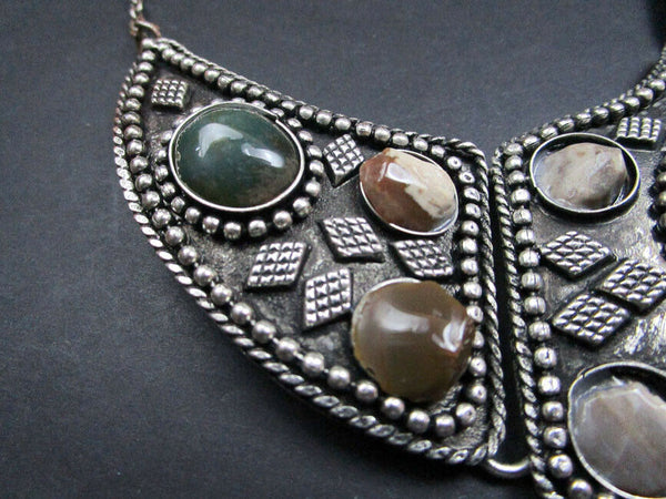 Gypsy Stones Necklace Antiqued River Agate Handcrafted In India Festival Gipsy Jewelry Banjara