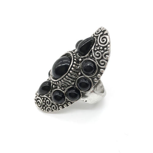 Gypsy Ring Oval With Black Stones Carved Swirling Filigrees Silver Ring Boho Bohemian Jewelry