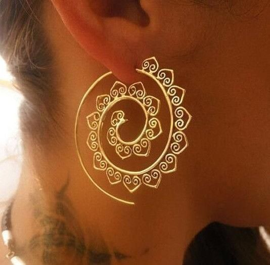 Gypsy Hoop Earrings Gold Spiral Pierced Bohemian Festival Accessory Indian Tribal