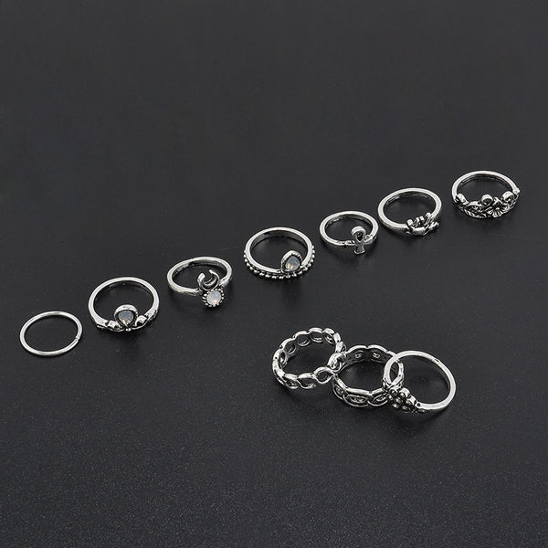 Gypsy Stacking Rings 10 Piece Set Silver White Iridescent Stones Boho Bohemian Every Finger Rings Ankh Elephant Waxing Moon Assorted Sizes
