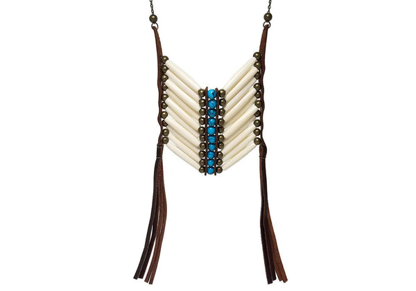 Breast Plate Necklace Ivory Hairpipe Turquoise And Bronze Bead Festival Jewelry Brown Genuine Leather Fringe