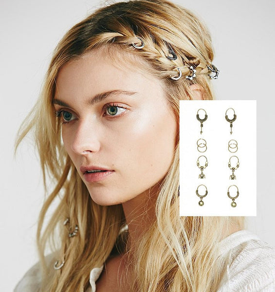 Hair Rings Gold Ivory 10 Piece Set Arrows Firebirds Tribal Festival Jewelry Free Spirited People