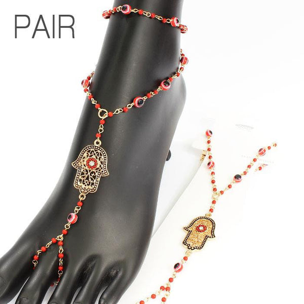Hamsa Barefoot Sandals Red Gold Beaded Beach Jewelry Toe Ring Ankle Bracelet Protection From The Evil Eye Good Luck Buddha Mudra Yoga Meditation