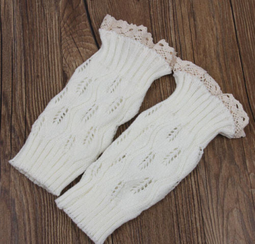 Boho Boot Cuffs Lace Top White Antique Crochet Lace Boot Toppers One Size