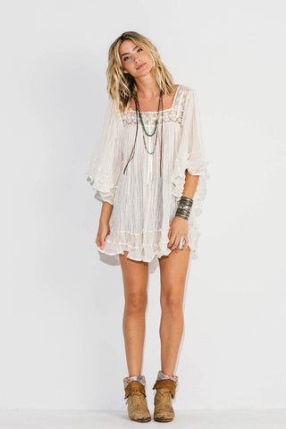 Janis Tunic Top White Gauze Angel Sleeves Satin Ribbon Wear As A Mini Dress A Festival Must Have! Sizes Small Medium Or Large