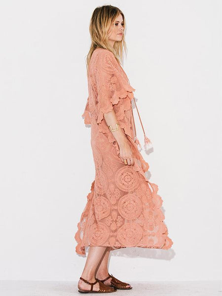 Mandala Mykonos Kaftan Blush Pink Lace Caftan Maxi Dress See Through Seductive Cover Up With Lace Up Front One Size