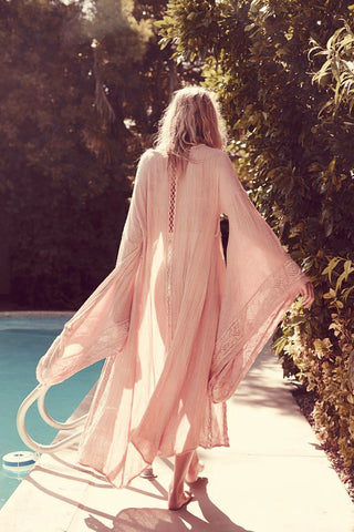 Woodcreek Kimono Blush Pink Full Length Maxi Swimsuit Cover Up Or Robe Beautifully Embroidered Goddess Sleeves Small Medium Or Large