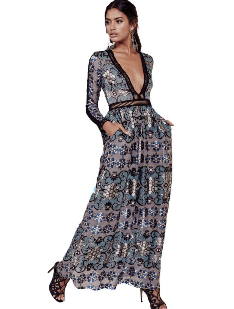 Boho Maxi Dress Quot Juliet Quot Blue Mosaic Print With Black