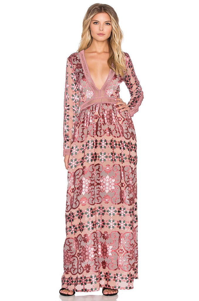 "Boho Maxi Dress ""Juliet"" Pink Mosaic Print With Blush Pink Ladder Crochet Plunging V Neck Elegant Gown Sizes Small Medium Or Large"