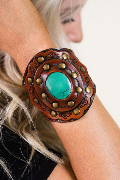 Turquoise & Leather Cuff Bracelet