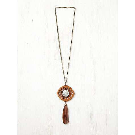 Genuine Leather Boho Tassel Necklace Brown Vegetable Dyed Flower Child Cutout Medallion With Kiwi Stone Center And Antiqued Brass Long Chain By Karen Kell