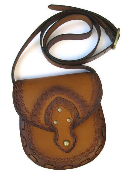 Genuine Tooled Leather Crossbody Purse Messenger Bag Vegetable Tanned Ombre Tan Brown Cowhide Brass Magnet Closure Adjustable By Karen Kell