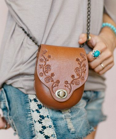 "Tooled Leather Crossbody Purse ""Daisy Chain"" Brown Handcrafted Genuine Cowhide Saddle Bag Style With Bronze Chain By Karen Kell"