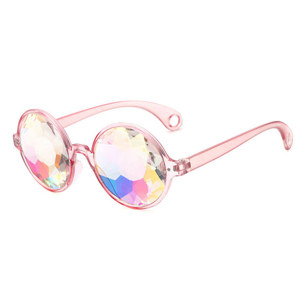 Kaleidoscope Sunglasses Baby Pink Frames Psychedelic Trippy Vision Groovy For Concerts And Festivals