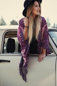 "Boho Kimono ""Kiss The Sky"" Purple Violet Floral With Lattice Fringe Cast A Gypsy Spell On Him One Size Fits Small Medium Or Large"