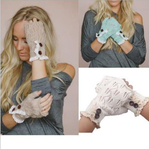 Fingerless Gloves Lace Buttons