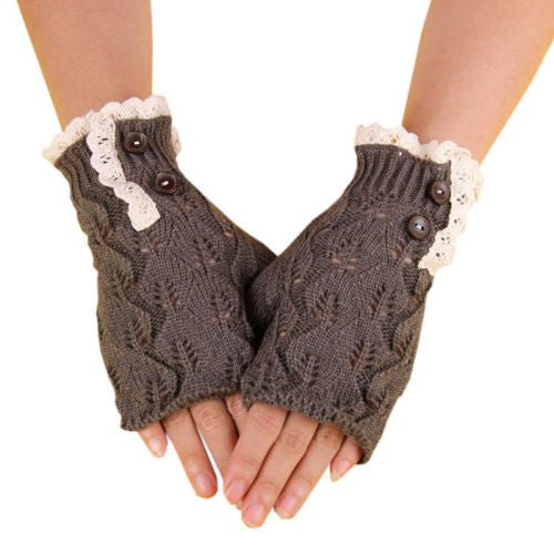 Boho Fingerless Gloves Lace And Button Trim Charcoal Gray Antique Lace Wooden Buttons One Size