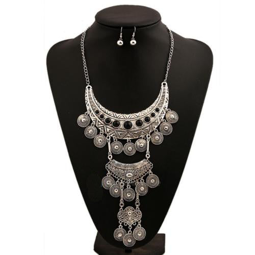 Gypsy Coin Necklace Long Tiered Silver Tone With Black Stones Festival Gypset Jewelry