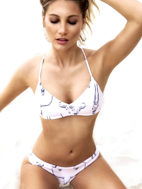 9228e552f3 ... Boho Longhorn Skull Bikini White 2 Piece Swimsuit With And Black Cattle  Print Padded Strappy Top ...