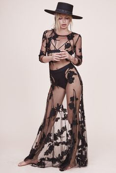 "See Through Boho Maxi Dress ""Orchid"" Black Mesh With Flower Print Three Quarter Sleeves See Thru Sizes Small Medium Large Or Extra Large"