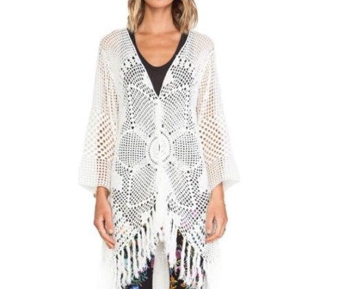ef6d5451174ef ... Free People Mandala Kimono White Bohemian Thick Sweater Button Front Tassel  Fringe Sleeves One Size Fits ...