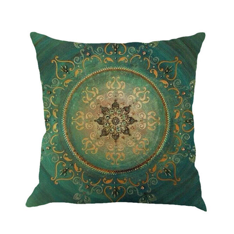 "Gypsy Mandala Pillow Large 18"" x 18"" Bohemian Decor Festival Comfort Blue Green Hippie Meditation Cushion"