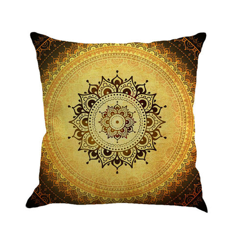 "Gypsy Mandala Pillow Large 18"" x 18"" Bohemian Decor Festival Comfort Brown Yellow Hippie Meditation Cushion"