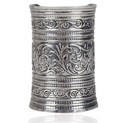 Super Long Gypsy Metal Cuff With Beautiful Design Silver Tone Gauntlet Boho Bracelet