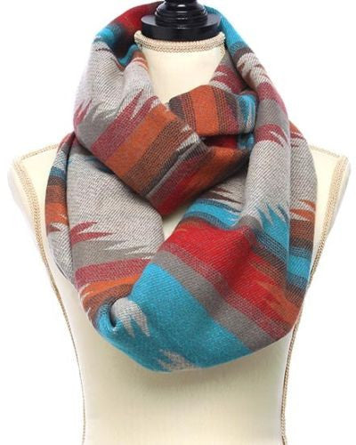 Mexican Blanket Infinity Scarf Super Soft Boho Aztec Print Beige Rust Turquoise Brown Southwestern Serape Cowgirl Winter Scarves