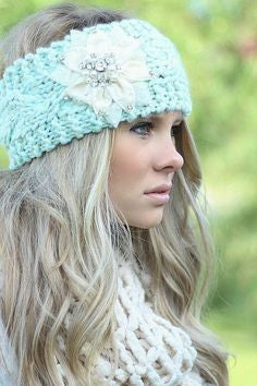 Boho Ear Warmer Headband Mint Cable Knit With White Bling Flower Crystals Pearls One Size