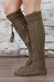 Alpine Boot Socks Dark Brown Thigh High Tie Top Tassels Thick Boho Diamond Cable Knit Slouch Or Fold Down Cuffs Over The Knee