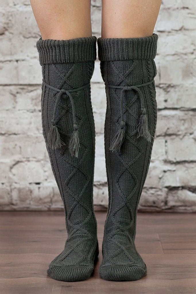 1915d1e31 ... Alpine Boot Socks Charcoal Gray Thigh High Tie Top Tassels Thick Boho  Diamond Cable Knit Slouch ...