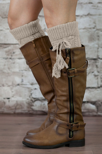 Alpine Boot Socks Tan Beige Thigh High Tie Top Tassels Thick Boho Oat Oatmeal Diamond Cable Knit Slouch Or Fold Down Cuffs Over The Knee