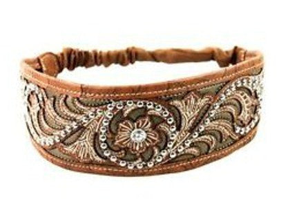 Montana West Brown Western Cowgirl Headband Tooled Leather Look Silver Studs Flower Center With Crystals Boho Hippie Headdress