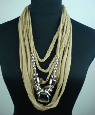 Infinity Scarf Necklace Boho Beige And Silver Braids With Bold Statement Beading It's A Scarf It's A Necklace Khaki Safari Look Wearable Art