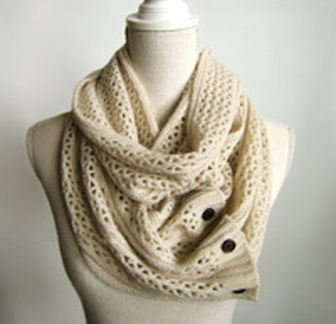 Nellie Net Infinity Scarf Boho Buttons Soft Oatmeal Beige Multiple Wood Button Winter Thermal Weave Scarves