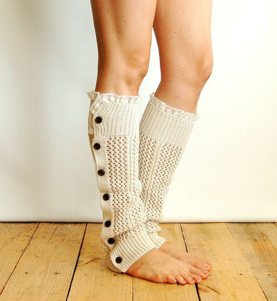 Nellie Net Leg Warmers Oat Oatmeal Lace Top Button Up Side Soft Boho Legwarmers Beige Boot Toppers One Size