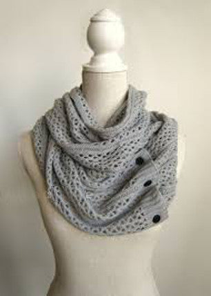 Nellie Net Infinity Scarf Boho Buttons Soft Gray Multiple Wood Button Winter Thermal Weave Scarves