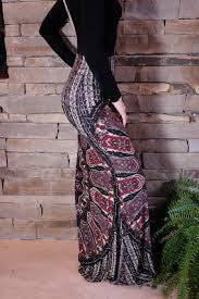 "Plus Size Boho Maxi Skirt ""Novella Royale"" Purple And Black Gypsy Print Long Hippie Skirt Sizes Extra Large XL And 2X Or XXL"