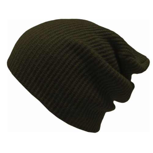 Slouch Hat Army Green Boho Ribbed Beanie Olive Drab Stocking Cap