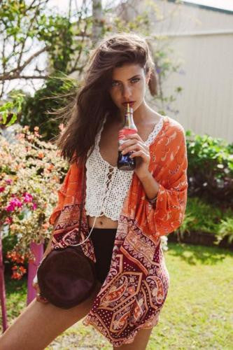 "Boho Kimono ""Sugar"" Orange And Burgundy Red Crescent Moon India Print Sizes Small Medium Or Large"