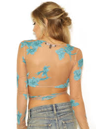 "For Love And Lemons ""Orchid"" Crop Top See Thru With Light Blue Flowers Long Sleeve Festival Shirt Wrapping Ties Small Medium Or Large"