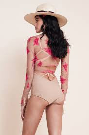 "See Through ""Orchid"" Crop Top With Red Flowers Nude Long Sleeve Festival Shirt Wrapping Ties Small Medium Or Large"
