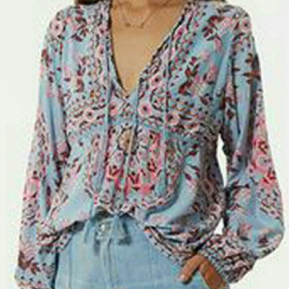 "Free People ""Pandora"" Peasant Top Bohemian Print In ""Aquarium"" Festival Blouse With Tassel Ties Sizes Small Medium Or Large"