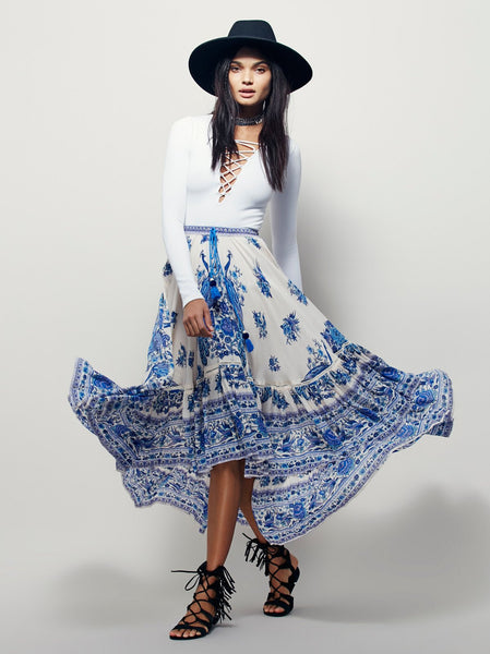 Blue White Bohemian Skirt