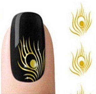 Nail Decals Gold Peacock Feathers Two Styles Boho Fingernail Transfers Nail Wraps Nail Art Instant Bohemian Touch To Your Free Spirited Look
